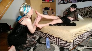 Feet licking & massage from cd tv sissy slave to her mistress pt1 HD