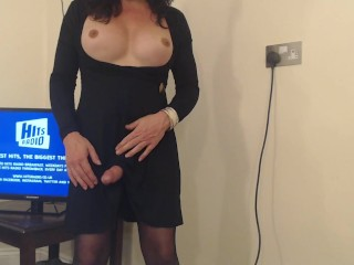 Mature transvestite with boobs talking and wanking boobs...