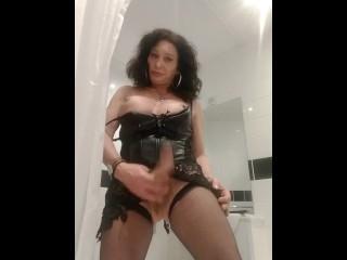 Tranny milf wanking cock tits on display...