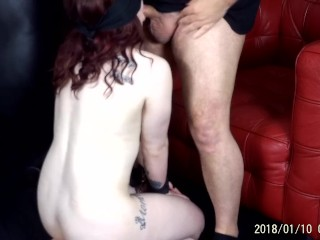 19 year old redhead is blindfolded older mans...