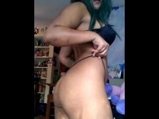 Cosplay girl strip tease part2
