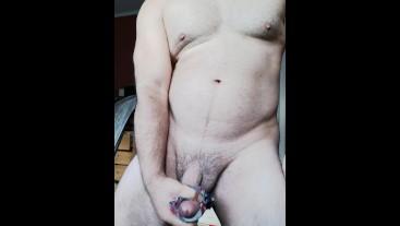 Vibrator makes cock cum