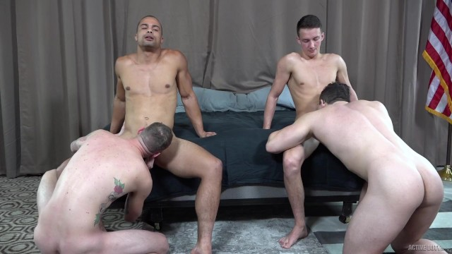 Gay mn active Activeduty 4 beefy guys pound each other bareback