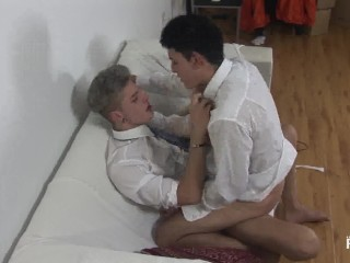 Brunette spanked and rammed twink...