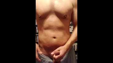 Quickie Before Bed Silent Orgasm from a CHUBBY MAN WITH ABS