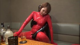 Latex Couple sex in bar