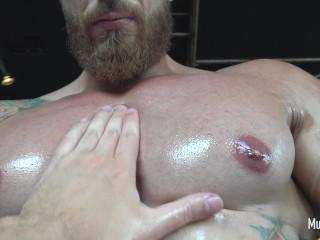Hunk huge biceps foot fetish jock off...