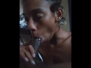 The Queen Red Giving Big Dick A Blow Job And Swallowing