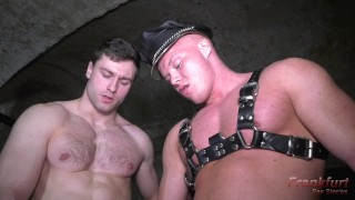 Sexy hairy bottom stud gets a rough fuck by young bodybuilder in dungeon