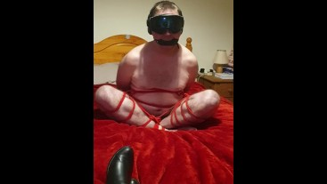 Bound and gagged cross-legged naked 3