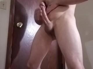 Stud jerks his huge cock!