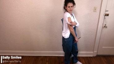 Girl Next Door Babysitter Rips & Destroys Jeans Overalls, Non-nude, Fetish