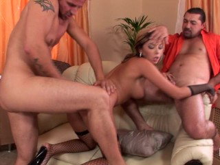 Horny blonde by three muscular guys...