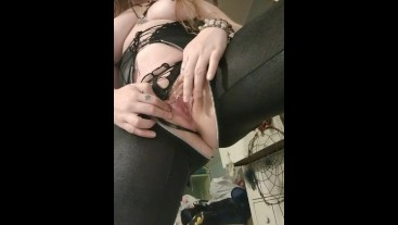 strip tease in my sexy leather lingerie, and I flash my pink pussy*teasing*