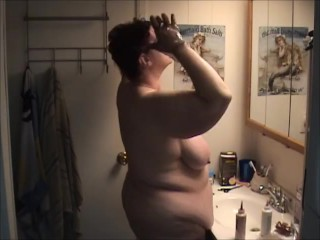 Naked bbw changing hair color shows big legs...