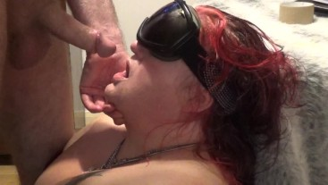 Woman tied up and throat fucked