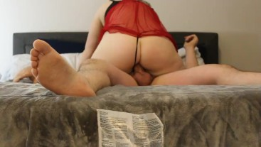 4K 60FPS Sucked and Fucked by Blonde Milf in Red Lingerie and Thong