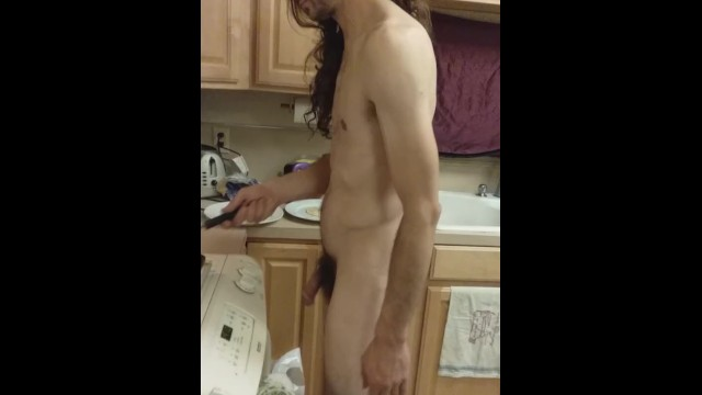 Hippy breakfast cook has his dick out 19