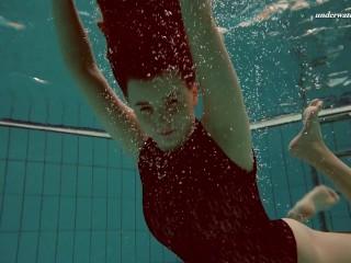 Hot hairy Vesta underwater