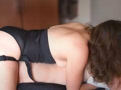 AMATEUR PEGGING QUEEN  HUGE CUMSHOT - real strapon sex homemade