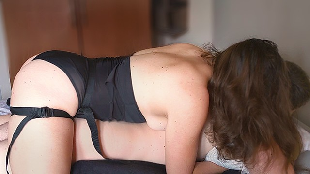 Ultimate in female domination over men - Most sensual amateur pegging ever - she strapon fucks him to huge cumshot