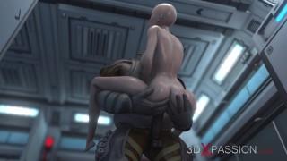 Sci-fi. Alien monster fucks a girl in the Mars base camp