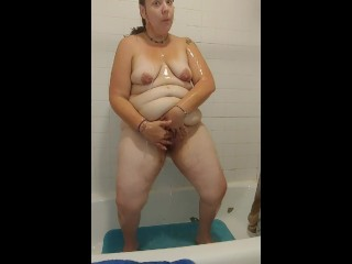 Horny bbw gets dirty in the shower with...