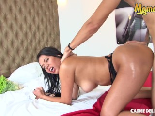 MamacitaZ - Fresh Colombian Amateur Beauty Oils Her Ass Before Riding Cock
