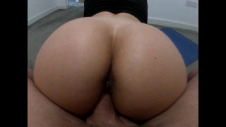 Big ass blonde fucked after gym workout