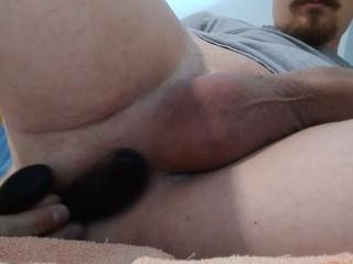 Boy jerking masturbating hard big dick toy prostate...