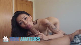 Petite Asian takes big cock and gives footjob - Trueamateur