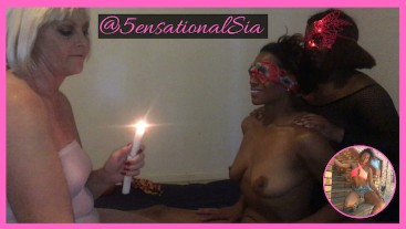 Interracial Lesbian 3sum @5ensationalSia Blindfolded Candle Wax Play