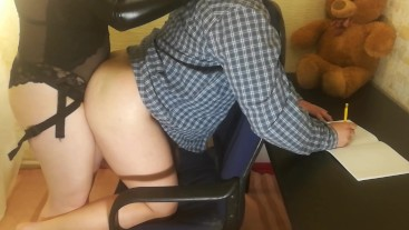 My girlfriend was stopping me from doing homework. (Pegging)