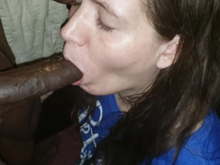 Pregnant Wife xxx: Pregnant Wife Is Fed Black Cum Dripping From Her Chin
