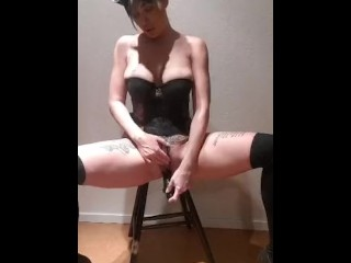 Milf masturbate with dildo pussy anal and wet...