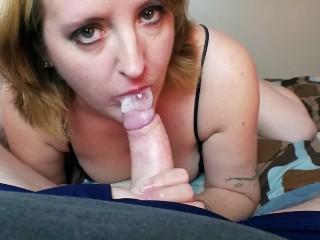 Stepson caught stepmom masturbating gets sloppy spit blowjob...