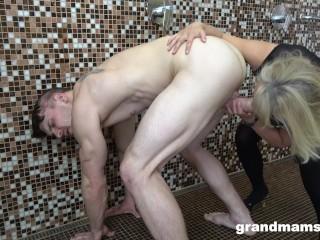 Horny granny loves cock...