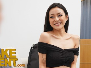 Asian babe rae lil black couch...