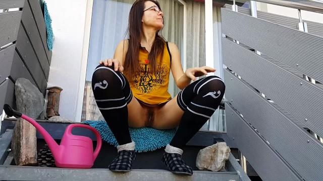 Public NO PANTIES in vision of neighbors#Pouring Roses at airbnb rent apt. 17