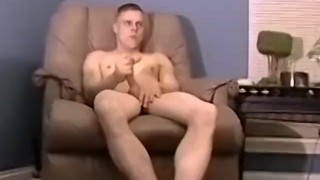 Gay amateur wanking his boner alone before busting fucked nut