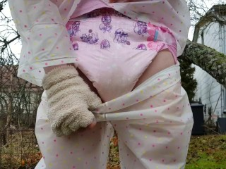 Outdoors Wetting Rain video: Outdoors Diaper Wetting with Transparent Rain Wear