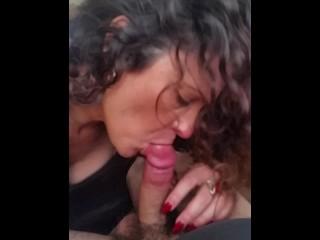 Beautiful MILF gives hot blow job and swallows