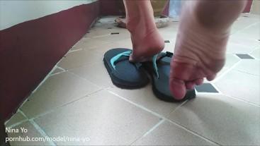 DANGLING Flip Flops Close Up View Dirty Bare Soles Shoeplay - Nina Yo