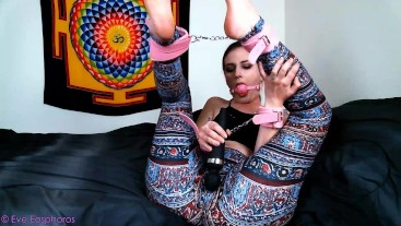 bound and vibrating pussy thru leggings