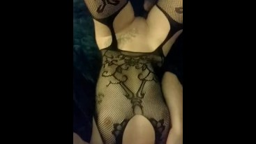 Showing of my perfect body 21 year old babe in sexy fishnet lingerie