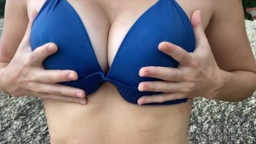 SEXY SLO-MO!! Dripping DD Bikini Babe Squeezes Wet Tits At The Beach