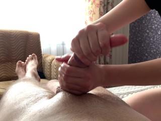 Hot wife make intense handjob till absoltely empty balls. POT