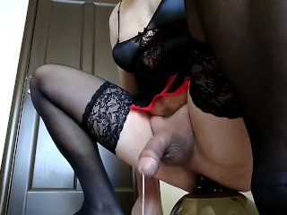 Sissy in chastity has riding a dildo cumshot...