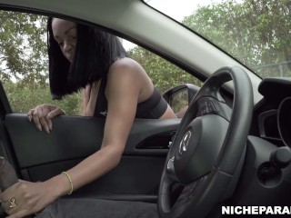 NICHE PARADE – Busty Ebony Stranger Jerks Off My Big Black Cock In Public