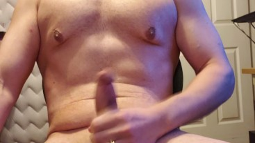deep moaning man with fat bouncing balls cumshots on self